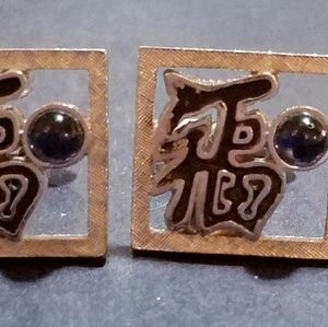 Other - Chinese Character Silvertone & Blue Glass Cufflink